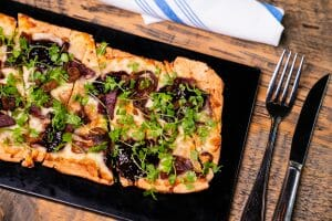 smoked duck flatbread